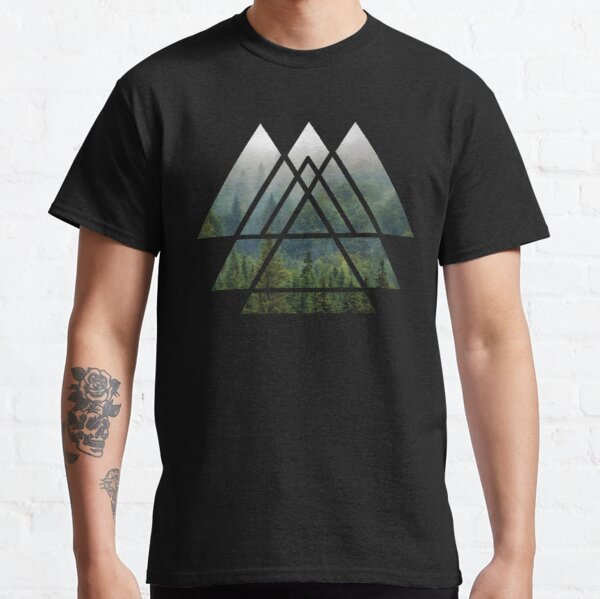 Sacred Geometry Triangles - Misty Forest Classic T-Shirt