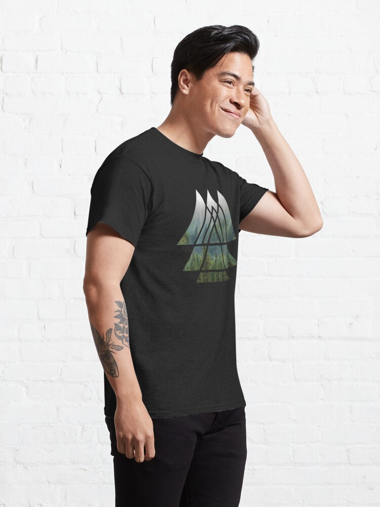 Alternate view of Sacred Geometry Triangles - Misty Forest Classic T-Shirt
