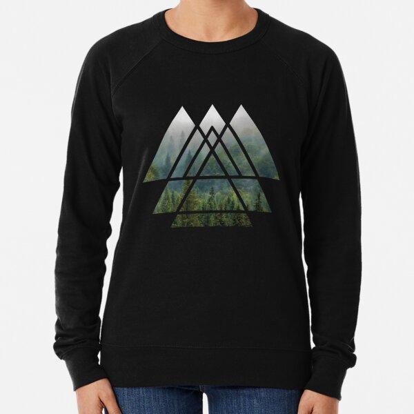 Sacred Geometry Triangles - Misty Forest Lightweight Sweatshirt