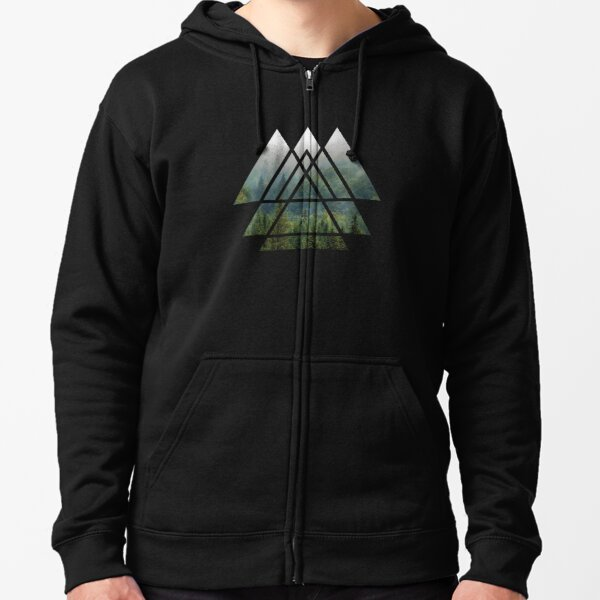Sacred Geometry Triangles - Misty Forest Zipped Hoodie