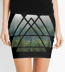Sacred Geometry Triangles - Misty Forest Mini Skirt
