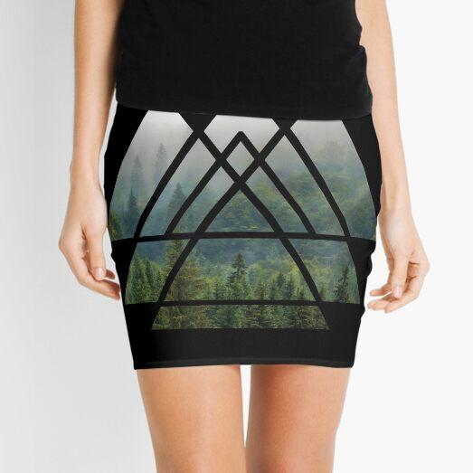 Sacred Geometry Triangles - Misty Forest Mini Skirt
