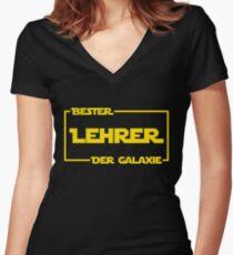 Bester Lehrer der Galaxie Women's Fitted V-Neck T-Shirt