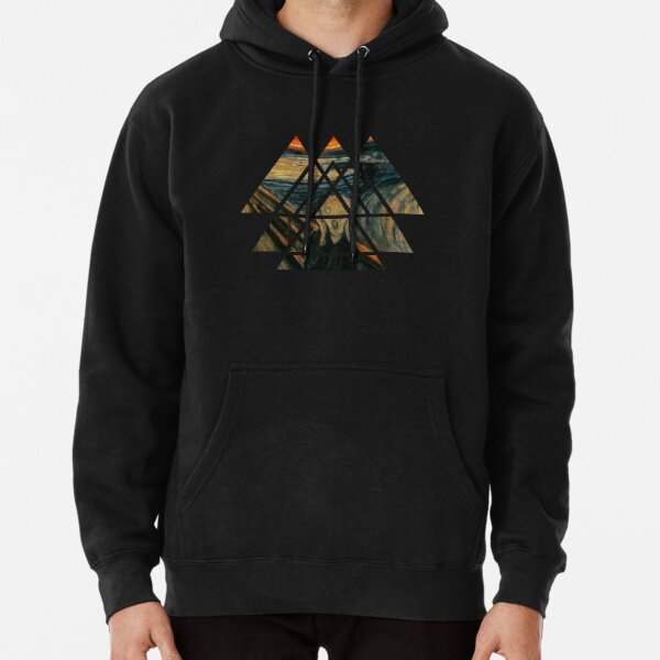 Sacred Geometry Triangles - The Scream - Edvard Munch Pullover Hoodie