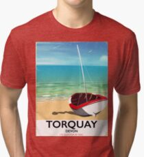 Torquay Devon vintage seaside travel poster Tri-blend T-Shirt