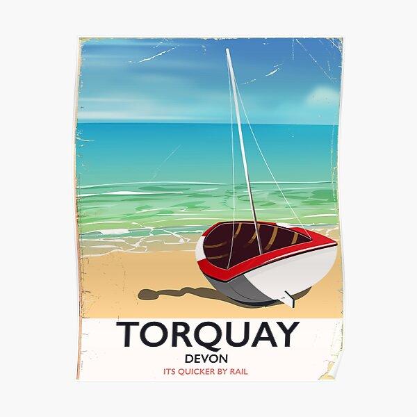Torquay Devon vintage seaside travel poster Poster