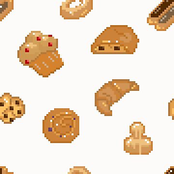 Pixel Art - Viennoiseries by Lysaena