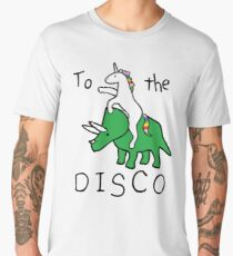To The Disco (Unicorn Riding Triceratops) Men's Premium T-Shirt
