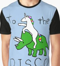 To The Disco (Unicorn Riding Triceratops) Graphic T-Shirt