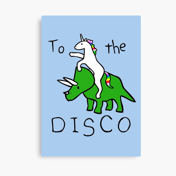 To The Disco (Unicorn Riding Triceratops) Canvas Print