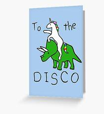 Tarjeta de felicitación To The Disco (Unicorn Riding Triceratops)