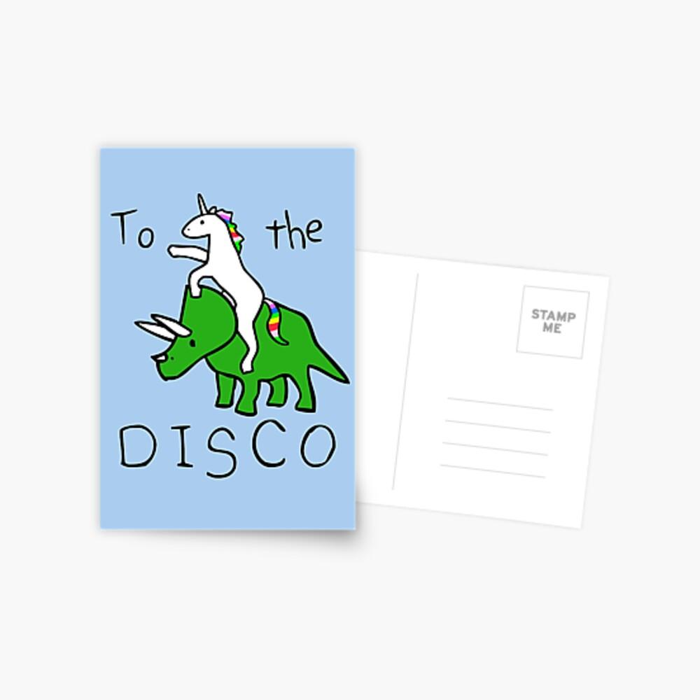 To The Disco (Unicorn Riding Triceratops) Postcard
