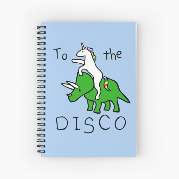 To The Disco (Unicorn Riding Triceratops) Spiral Notebook
