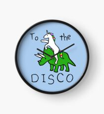 To The Disco (Unicorn Riding Triceratops) Clock