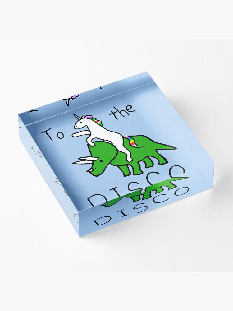 Alternate view of To The Disco (Unicorn Riding Triceratops) Acrylic Block