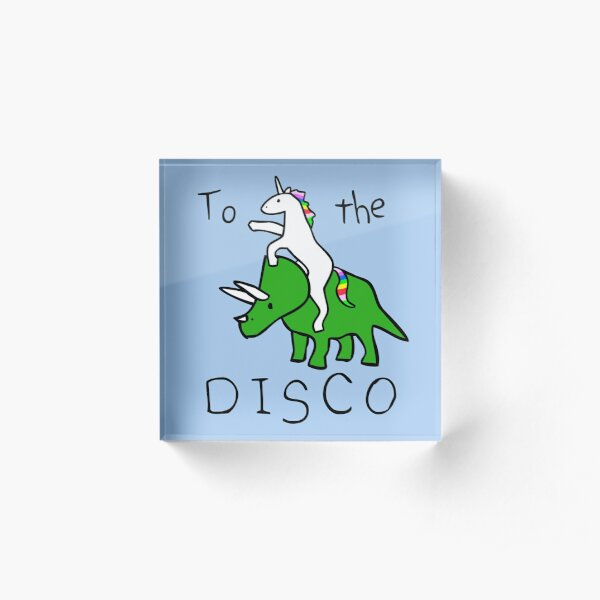 To The Disco (Unicorn Riding Triceratops) Acrylic Block