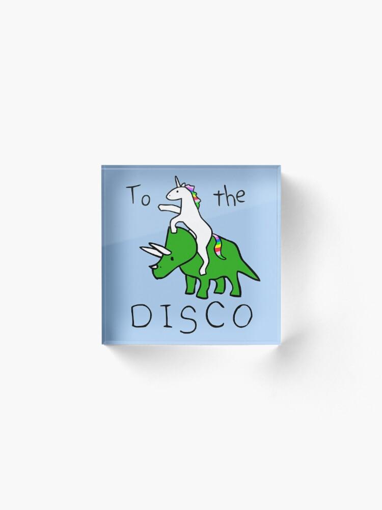Alternate view of To The Disco (Unicorn Riding Triceratops) Acrylic Block