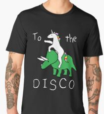 To The Disco (white text) Unicorn Riding Triceratops Men's Premium T-Shirt