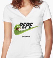 Nike Pepe FREE KEKISTAN #KEKFUGEESWELCOME Women's Fitted V-Neck T-Shirt