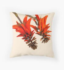 Brilliant Scarlet Coral Tree Flowers Throw Pillow
