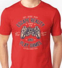 Escape Reality Play Games Retro Vintage Distressed Design Unisex T-Shirt