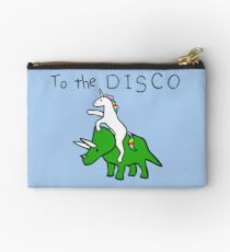 To The Disco (Unicorn Riding Triceratops) Zipper Pouch