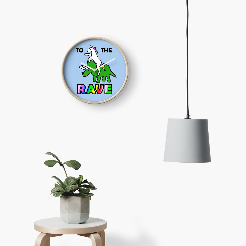 To The Rave! (Unicorn Riding Triceratops) Clock