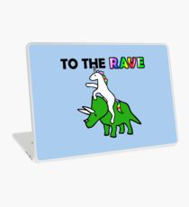 To The Rave! (Unicorn Riding Triceratops) Laptop Skin