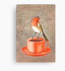 coffee loving robin bird Canvas Print