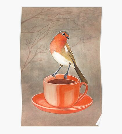 coffee loving robin bird Poster