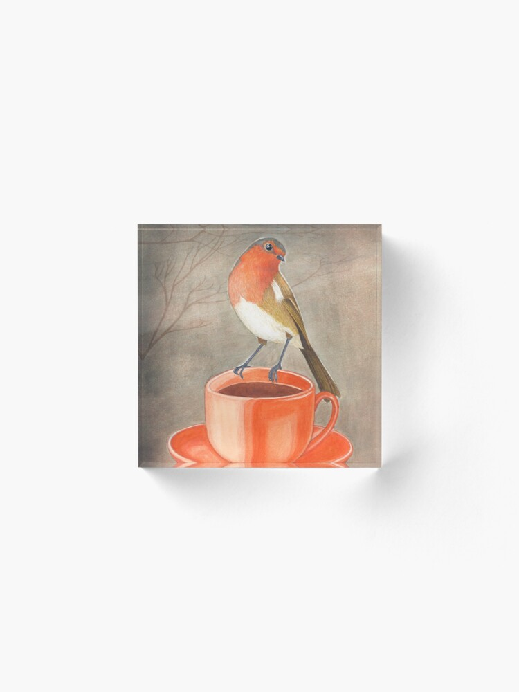 Alternate view of coffee loving robin bird Acrylic Block