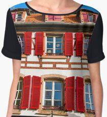 Old but beautiful alsacien windows on the sun, Selestat, Alsace, Francxe Chiffon Top
