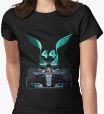 Lewis Hamilton and 2017 f1 car Womens Fitted T-Shirt
