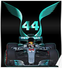 Lewis Hamilton and 2017 f1 car Poster