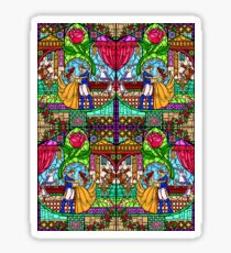Happily Ever After 4 - Stained Glass Rose Mirrored Sticker