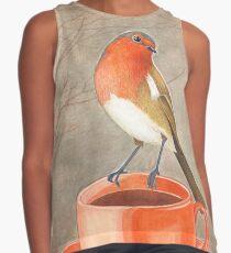 coffee loving robin bird Contrast Tank