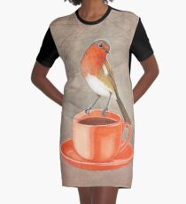 coffee loving robin bird Graphic T-Shirt Dress