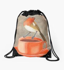 Kaffee liebender Rotkehlchenvogel Turnbeutel