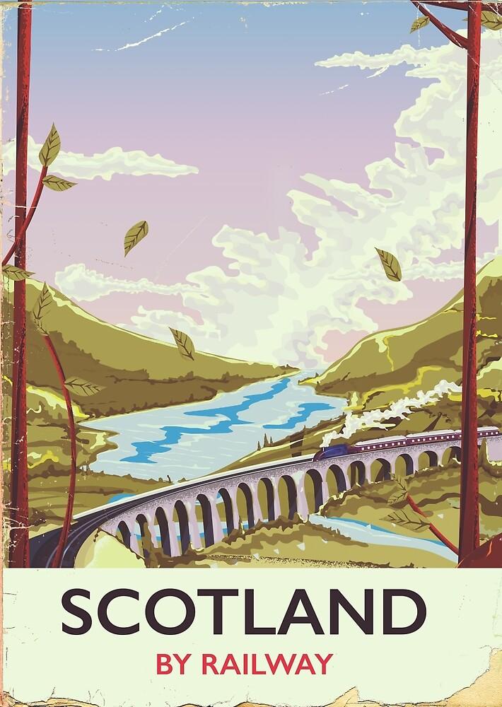 Scotland Vintage locomotive travel poster by vectorwebstore