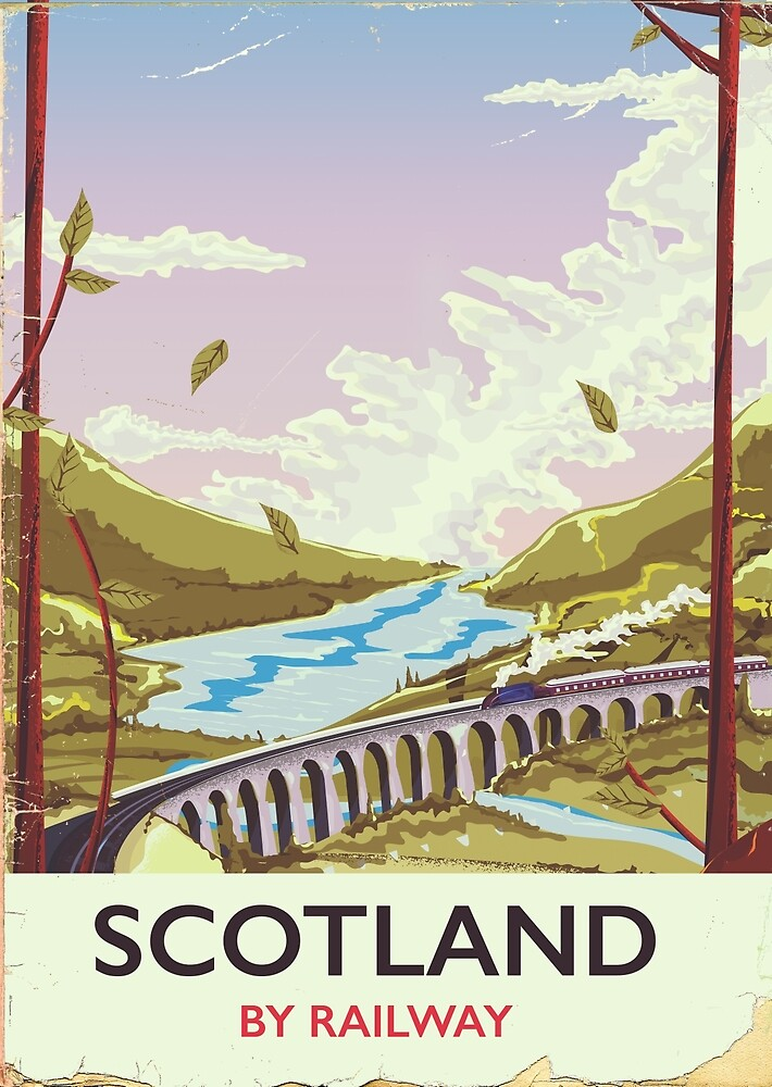 Scotland Vintage locomotive travel poster by vectorwebstore