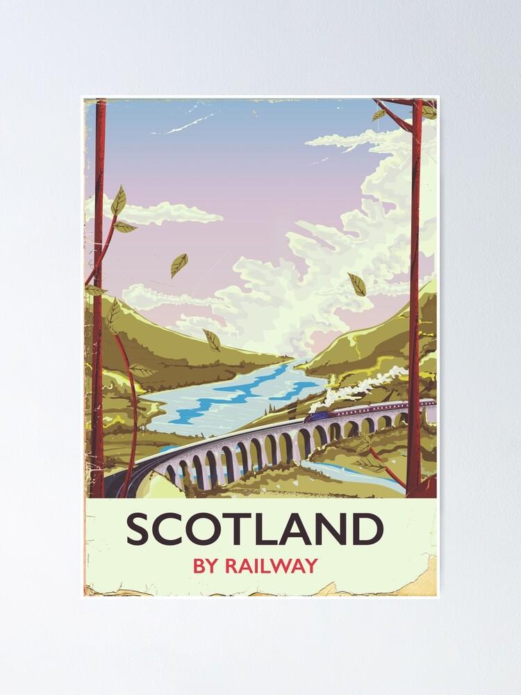 Alternate view of Scotland Vintage locomotive travel poster Poster