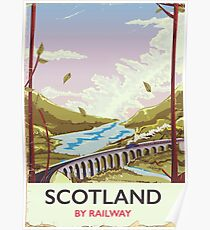 Scotland Vintage locomotive travel poster Poster