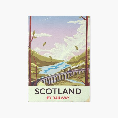 Scotland Vintage locomotive travel poster Art Board Print