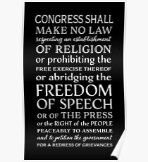 FREEDOM OF SPEECH FIRST AMENDMENT Poster