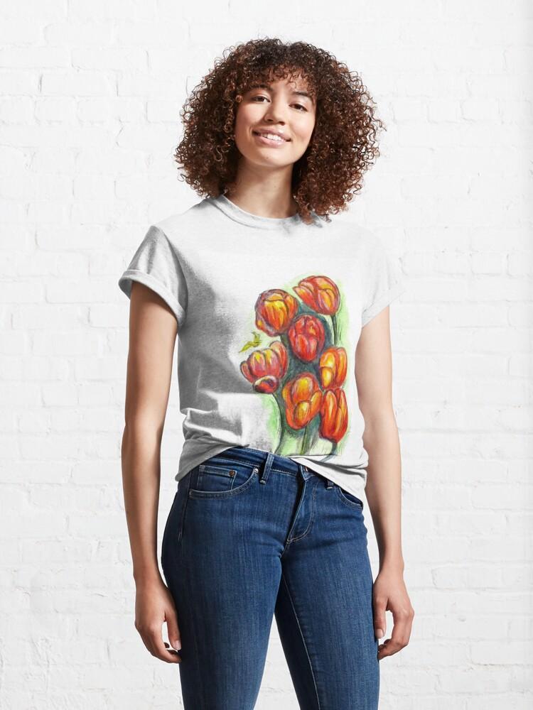 Alternate view of Spring Tulips Digital Enhanced Classic T-Shirt