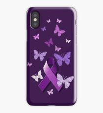 Purple Awareness Ribbon with Butterflies  iPhone Case