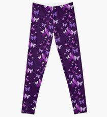 Purple Awareness Ribbon with Butterflies  Leggings