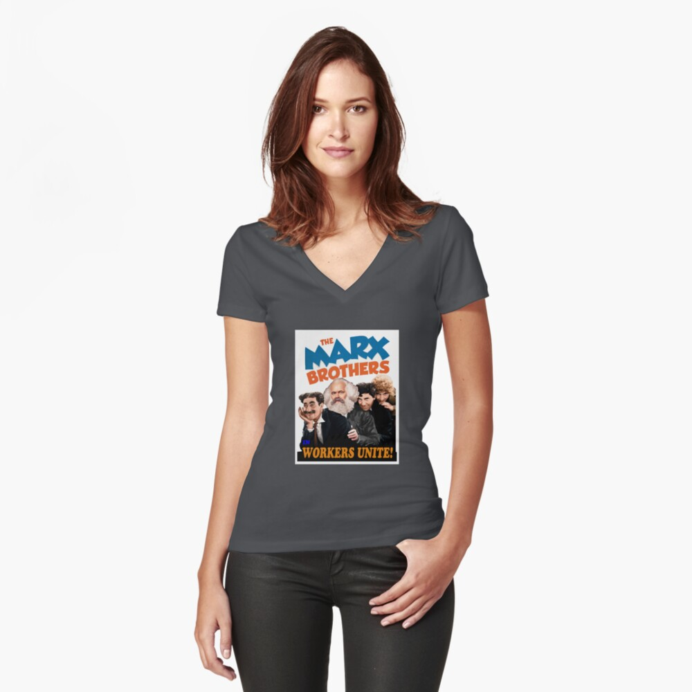 """Marx brothers in """"workers unite"""" Fitted V-Neck T-Shirt"""