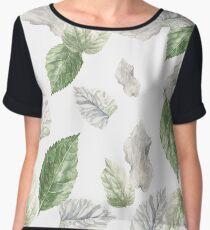 Green Leaves Women's Chiffon Top