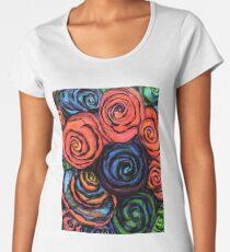 Swirly Roses In Pencil Women's Premium T-Shirt